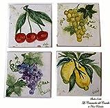 4 Mattonelle artistiche da murare, da appoggio, sottopentola Linea Frutti Dimensioni cm.10 x 10 Ceramica Handmade Le Ceramiche del Castello Nina Palomba Made in Italy
