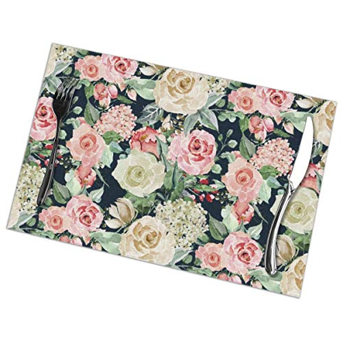 Myhou Table Mats Set of 6 Esstisch-Platzsets Washable Placemats Heat Resistant 45x30cm for Kitchen and Dining Room Country Chic Navy Blue Pink Ivory Watercolor Floral Ivory Square Dinner Plate