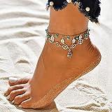Hi-Smile Boho Perlen Fußkettchen, Barfuß mehrschichtige Blatt Fußkettchen Sandalen 3D Symbol Fußkette für Frauen