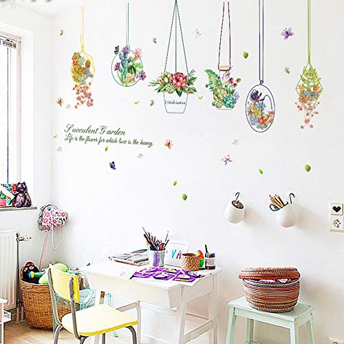 Kreative Diy Grüne Pflanze Wandaufkleber Hause Simulation Sukkulenten Hängenden Korb Kombination Wandaufkleber Anlage Raumdekor 50X70cm