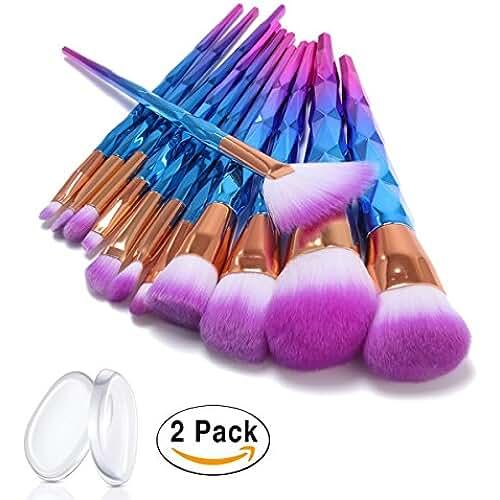 maquillaje unicornio kawaii ASEL 12 Piezas/Set Brochas de Maquillaje para fundación ceja delineador de ojos Blush Corrector Cosmético Con 2 pcs silicona esponja de maquillaje y bolsa