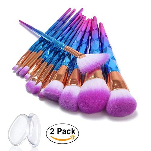 Pinceau Maquillage, ASEL 12Pcs Pinceaux Spirale Professionnel & Brush Cosmétique pour les Poudres, Anticernes, Contours, Fonds de Teints, Mélanges et Eyeliner 2 Pcs Silicone Éponge