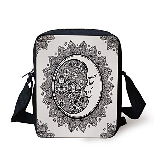 Zodiac,Intricate Boho Ethnic Mandala Form with Crescent Moon Foreground Alchemy Symbol Decorative,Dark Blue White Print Kids Crossbody Messenger Bag Purse