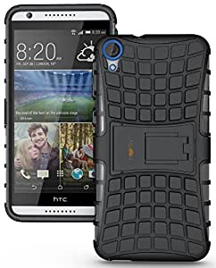 Heartly Flip Kick Stand Spider Hard Dual Rugged Armor Hybrid Bumper Back Case Cover For HTC Desire 820 820S 820Q 820G+ Plus Dual Sim - Rugged Black
