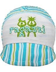 Wegener Babymütze Unisex Baumwolle Mütze Jungenmütze Hut in blau/weiß mit Gummizug hinten und in Grösse 41-44