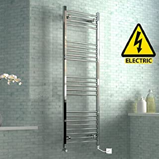 iBathUK 1600 x 500 mm Electric Curved Towel Rail Radiator Chrome Heated Ladder