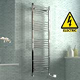 1600 x 500 mm Electric Curved Towel Rail Radiator Chrome Heated Ladder