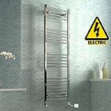 iBathUK 1600 x 500 mm Electric Curved Towel Rail Radiator Chrome Heated Ladder