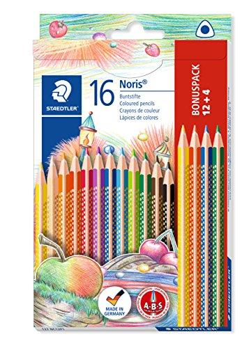 127 NC12P1 Buntstifte, erhöhte Bruchfestigkeit, kindgerecht nach DIN EN71, PEFC-Holz, Set mit 12 brillanten Farben + 4 gratis (Spaß-office-spiele)