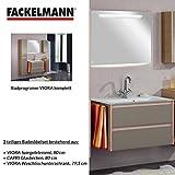 Fackelmann Badmöbel Set Viora 3-tlg. 80 cm Grau pinie mit Waschtisch Unterschrank & Glasbecken & Spiegelelement