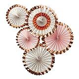 5 Deko-Fächer / Falt-Rosetten mit Blumen-Motiv in rosé-Gold / Kupfer & rosa pink / Girlanden & Banner, Hochzeits-Deko, Geburtstags-Dekoration, Raum-Dekoration