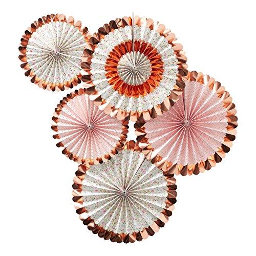 t-Rosetten mit Blumen-Motiv in rosé-Gold / Kupfer & rosa pink / Girlanden & Banner, Hochzeits-Deko, Geburtstags-Dekoration, Raum-Dekoration ()