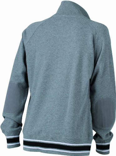 James & Nicholson - Sweat-Shirt Femme Gris (grey-melange/black/white)