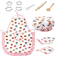 Easong 11Pcs Kids Cooking And Baking Set Kitchen Costume Role Play Kits Apron Hat For Kids Role Play Toy Kids Non-Toxic Materials No Sharp Edges Safe Reusable Baking Costume For Kids