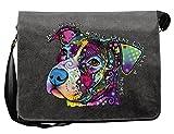 Süßer Hund Hundekopf Motiv Canvas Tasche - Hunde Umhängetasche : In A Perfect World -- Freizeittasche Hunde Neon Motiv