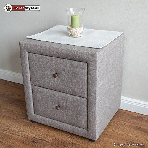 Homestyle4u 1749 Nachtschrank Nachttisch Schlafzimmer Nachtkommode Beistelltisch grau Stoff