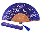 Sthuahe Magnifique éventail 21cm avec Sakura peints à la main, éventail pliant en soie et bambou pour femmes, pour cadeau de mariage, danse avec éventail, fan de princesses, de loisirs créatifs, Bleu-a...