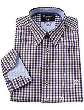 Top-Quality Trachtenhemd Herren - Blau-Braun Karo/kariert - Langarm/Kurzarm - Komfort Baumwolle Hirsch-Stickerei