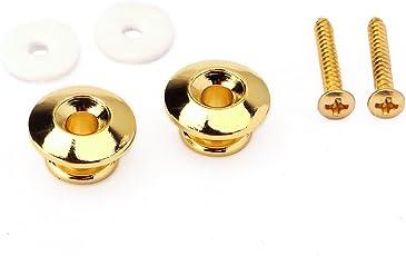 healifty Cinghia della Chitarra kinbar Los pulsanti della cinghia di metallo con le viti di fissaggio per la chitarra accessori di ricambio chitarra della Mandolino del basso (Nero)