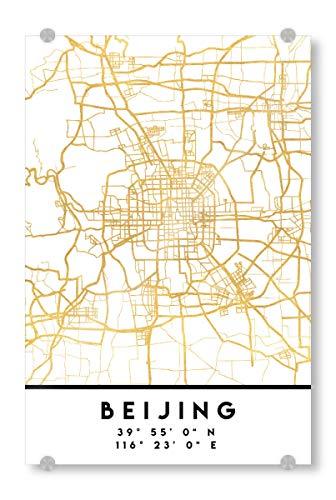 artboxONE Acrylglasbild 150x100 cm Städte Beijing China Street MAP Art - Bild Beijing China Peking