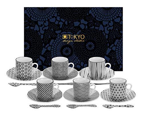 TOKYO design studio Nippon Black Espresso-Set schwarz-weiß, 18-TLG, 6X Espresso-Tassen mit Untertassen und Löffeln, asiatisches Porzellan, Japanisches Design, inkl. Geschenk-Verpackung