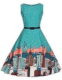 7d3929db91778c Damen Sommerurlaub Kleid Retro Stil Prinzessin Kleid Party Kurzarm Schöne  Kleider Prom Rundhals Blumenprint Rockabilly A