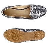 Damen Ballerinas Slipper Slip Ons Absatz in Mehreren Farben 36-41 Schuhe 137924 Grau Metallic Glitzer 39 Flandell