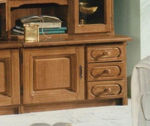 XANA-Möbel Edle Wohnwand in Eiche rustikal / Schrankwand Anbauwand Massiv – Vitrine - 2