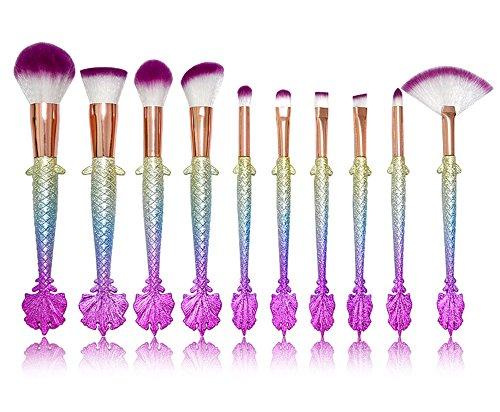 OOYJ Pinceau De Maquillage Kabuki 10 Pièces Kit Fondation Mélange Fard À Joues Traceur pour Les Yeux Visage Poudre Maquillage Brosse Kit Beauté Produit De Beauté Outils,3Dcolorfulpurplehair