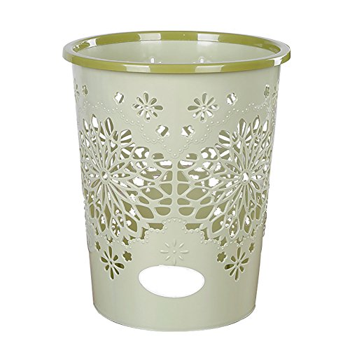 Jancery Hohl Trash Abfalleimer Kann Schneeflocke Büro Papier Müll Staub Mülltonne ohne Deckel, Plastik, grün, 24 * 18 * 29CM