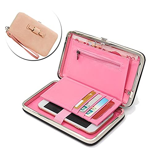 Ladies Purse Wallet,Vandot Universal Women's [Large Capacity] Cell Phone Cover Mobile Phone Bag With Wristlet, Credit Card Slots, Ribbon, Passport Holder, Driving license Folder, Premium Elegant Pocket Practical Multi-Functional Smartphone Hand Wrist Wallet Pouch Phone Case for iPhone X /8 /8 Plus /7 /7Plus /6S /6S Plus /6 /6Plus /SE /5S, Galaxy S8 Plus /S8/ /A3/A5/A7/J3/J5/J7 2017, Huawei Mate 9/P10/P9/P8 Lite, Sony Xperia XZ/XA, HTC 10, LG K10 /K8 2017 etc. -Bow Tie Knot [PINK]