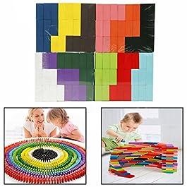 Cisixin 120 pezzi 10 Colore Mattoncini in Legno per Domino per Bambini Giocattoli
