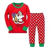 Per 2~6 anni,Amlaiworld Bambino RagazzeNatale Babbo Natale T-shirt Top + Dot lungo vestito di pantaloni (6 anni, rosso)
