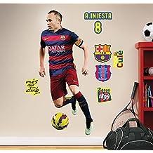 FC Barcelona Iniesta - Vinilo decorativo oficial fútbol, 120 x 52 cm