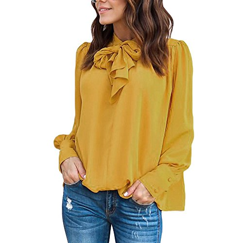 ESAILQ Frau Beiläufig Chiffon Langarm Solid Bow Tops T-Shirt Bluse(M,Gelb) -