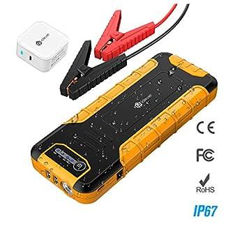 iClever–15000mAh Peak 600Amp portátil coche Jump Starter boostengine externa Power Bank con múltiples protección Smart Clamp, 100Lúmenes de luz LED, Amarillo