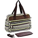 Fashion Classic Stripes Mummy Bag High Capacity Large Baby Diaper Bag Nappy Changing Bag Tote Shoulder Bag (Green)