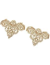 Footful Gold Pair Sewing On Pearl Rhinestone Applique DIY Wedding Dress Shoe Clips