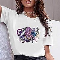 LuoMei Camiseta Estampada Blanca Camiseta de Manga Corta con Cuello Redondo para Mujer Camiseta de Algodón para Mujer Camiseta de Mujer CoreanaComo se muestra, s
