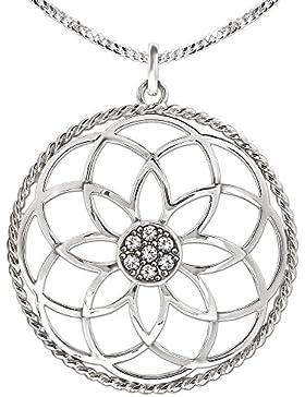 CLEVER SCHMUCK-SET Silberner großer Anhänger Mandala Ø 40 mm Blume des Lebens mit vielen Zirkonia in der Mitte...