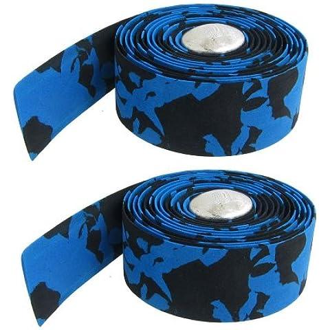 Dcolor 2 x Cinta Azul Negro para Manillar de Bicicleta Barra Plateado