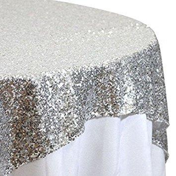 Silber Pailletten Tischdecke, wählen Sie Ihre Größe, silber Hochzeit Tischdecke, silber glitzer Tischdecke, silber funkelnd Tischdecke, Leinen, silber, 72inx72in square
