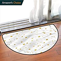 DESPKONMATS Stars Bathroom Semi-circular Carpet, Heavenly Body Silhouettes latest technology Rug, Phthalate Free, Rugs for Office Stand Up Desk, Half Circle-