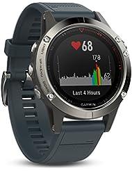 Garmin Uni Fēnix 5 Smartwatch Gps-Multisportuhr, Silber, Armband Blau, 47 mm