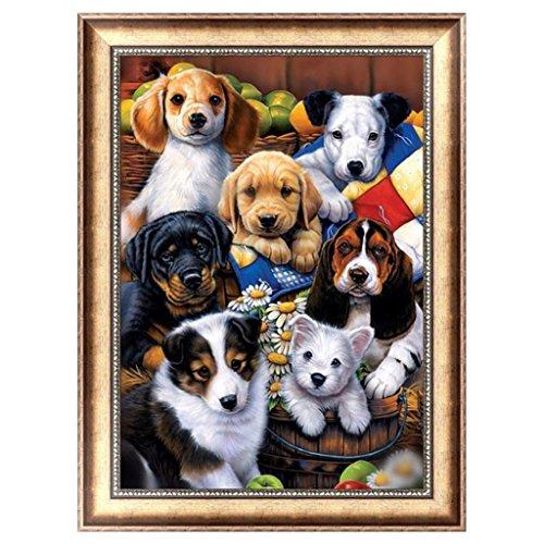 Gilroy 5D Diamant Malerei Kits DIY Strass Stickerei Kreuzstich Home Raum Wand Decor, Hund Familie (Keychain Licht Spaß)