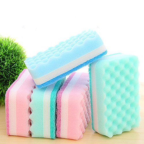 Price comparison product image Caxmtu 5Pcs Antibacterial Kitchen Scouring Pad Sponge Brush Dish Towels Sponge Brush Thick Wavy