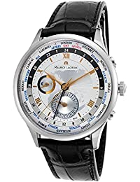 Maurice Lacroix Tradition Worldtimer GMT Second Time Zone Steel Mens Strap Watch Date MP6008-SS001-110