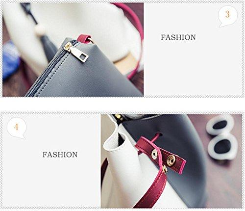 YANX Lady Art und Weise PU-Stitching Design kreative Wannenbeutel Handtasche Fransen Umhängetasche white + gray