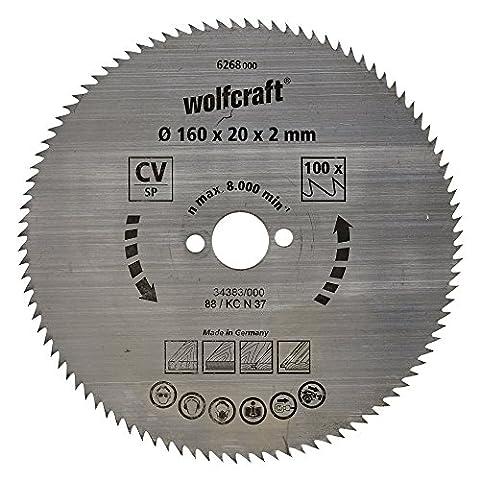 Wolfcraft 6268000 160 x 20 x 2mm CV Circular Saw Blade with 100 Teeth - Blue Series