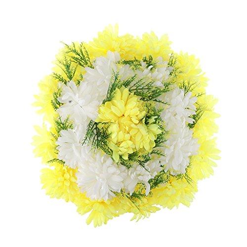 Homyl Künstliche Nelken- und Chrysanthemen Blumenkranz Grabschmuck Grabgesteck Grabdekoration Totensonntag Allerheiligen für Trauerfeier und Beerdigung